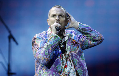 FILE - This Feb. 26, 2013 file photo shows singer Miguel Bose, of Spain, performing at the Vina del Mar International Song Festival in Vina del Mar, Chile. Bose will be honored as person of the year by the Latin Recording Academy at a concert and tribute gala on Wednesday, Nov. 20 at the Mandalay Bay Convention Center in Las Vegas. (AP Photo/Luis Hidalgo, file)