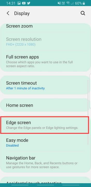 Screenshot of Edge Screen Lighting Settings on Samsung Galaxy S8