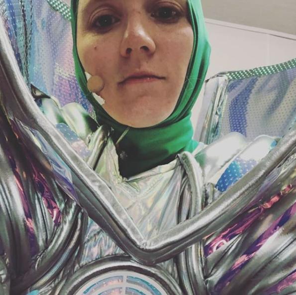 A selfie of Nikki Webster in her Masked Singer Alien costume backstage.