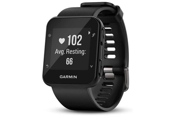 Picture shows the Garmin Forerunner 35 smartwatch in black