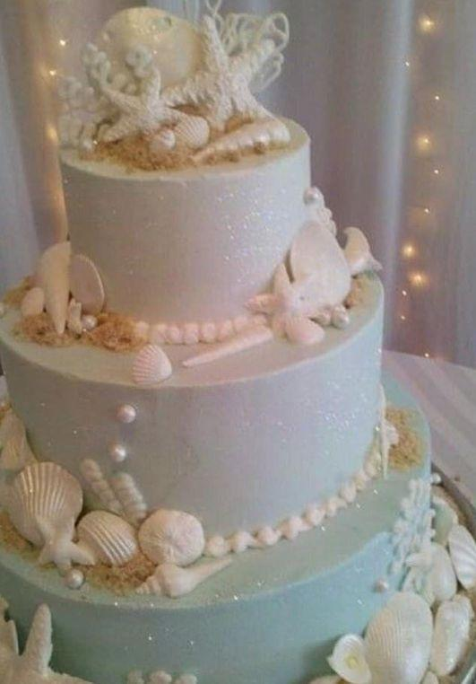 Ocean themed wedding cake a bride gave her baker as inspiration.