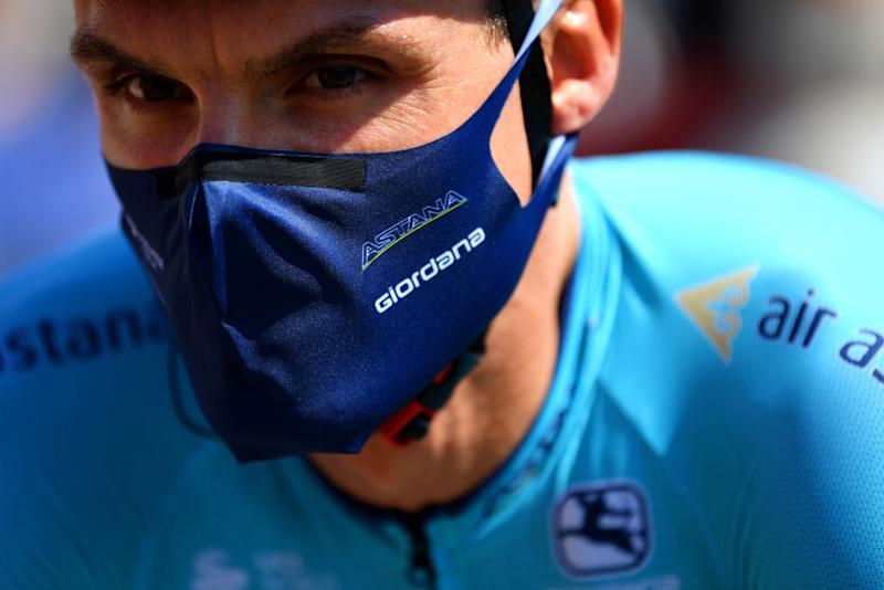BEZIERS FRANCE AUGUST 01 Start Luis Leon Sanchez Gil of Spain of Colombia and Astana Pro Team Giordana Mask Covid Safe measures during the 44th La Route dOccitanie La Depeche du Midi 2020 Stage 1 a 187km stage from Saint Affrique to Cazouls ls Bziers RouteOccitanie RDO2020 on August 01 2020 in Beziers France Photo by Justin SetterfieldGetty Images