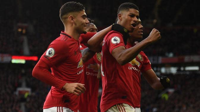 Marcus Rashford merayakan golnya untuk Manchester United ke gawang Brighton. (AFP/Oli Scarff)