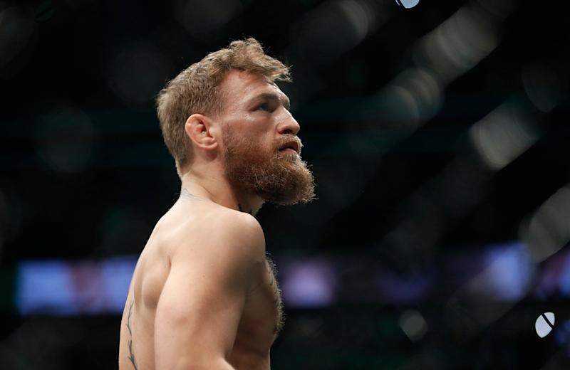 b82d2192bd3 Conor McGregor is shown before fighting Khabib Nurmagomedov in a  lightweight title mixed martial arts bout