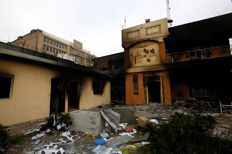 FILE PHOTO: A view of the Iranian consulate after Iraqi demonstrators stormed and set fire to the building during ongoing anti-government protests in Najaf
