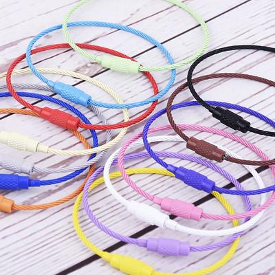 10pcs Colorful Wire keyring Wire Keychain Cable Key Ring Key Holder stainless steel cable wire Different color Keyring Keychain Findings