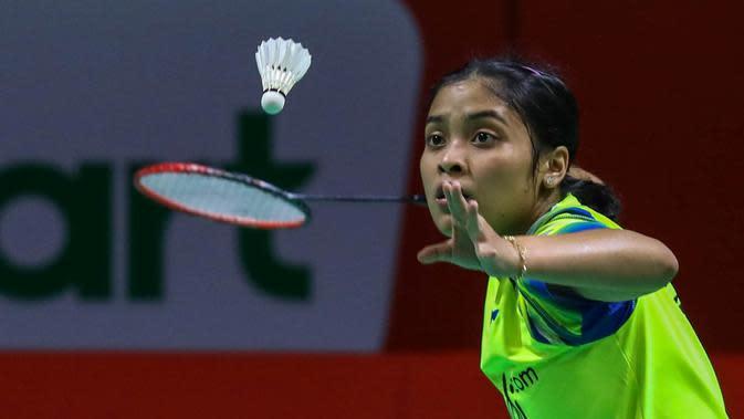 Gregoria Mariska Tunjung saat melawan Akane Yamaguchi di perempat final Kejuaraan Bulutangkis Asia Beregu 2020 di Manila, Filipina, Jumat (14/2/2020). (PBSI)