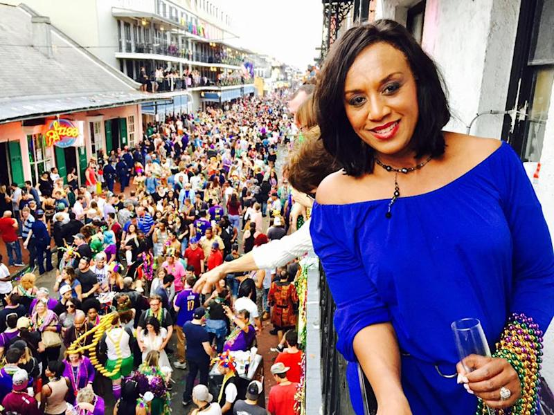 Nancy Parker, a news anchor for Fox 8, at Mardis Gras in New Orleans. She died in a plane crash while covering a story at the city's airport on Friday.