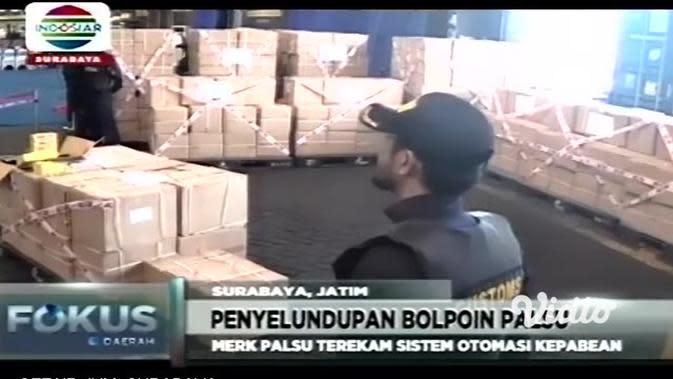 VIDEO: Bea Cukai Tanjung Perak Gagalkan Bolpoin Selundupan Rp 1 Miliar dari China