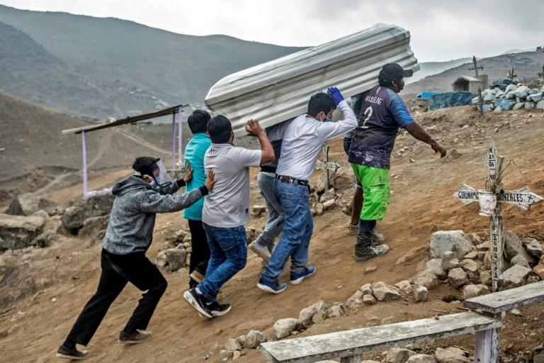 Relatives carry the coffin of a suspected COVID-19 victim in the outskirts of Lima, Peru