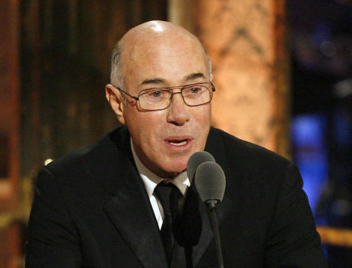 FILE - This March 15, 2010 file photo shows music and movie mogul David Geffen speaking during the Rock and Roll Hall of Fame induction ceremony in New York. Geffen has kicked in $25 million for a film museum planned by Academy Awards overseers. The Academy of Motion Picture Arts and Sciences announced Monday, April 8, 2013, that the David Geffen Foundation made the donation for the museum scheduled to open in 2017 next to the Los Angeles County Museum of Art. It's the largest contribution yet in the academy's $300 million fund drive for the museum. (AP Photo/Jason DeCrow, file)