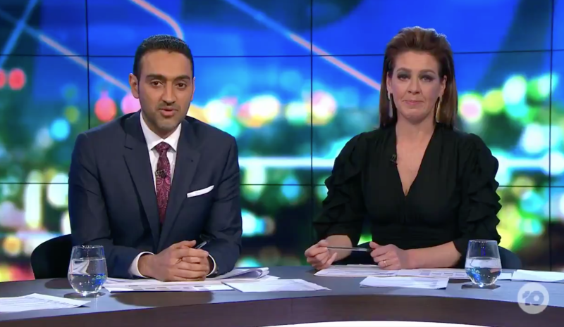 A still shot of an emotional Waleed Aly and Gorgi Coghlan paying tribute to Carla Bellomarino on The Project. Source: Channel Ten