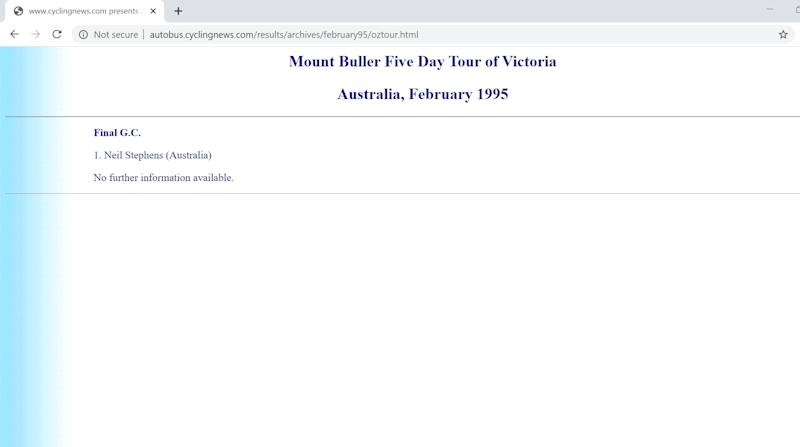 A nascent Cyclingnews reports on the Mount Buller Cup, February 1995