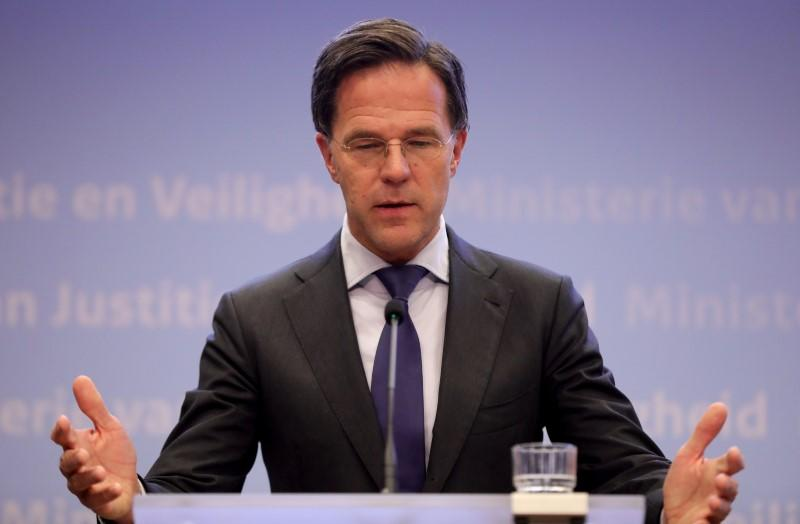 Dutch Prime Minister Mark Rutte and newly appointed Health Minister Hugo De Jonge hold a joint news conference in the Hague