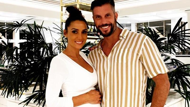 A photo of Sam Wood and his pregnant wife Snezana.