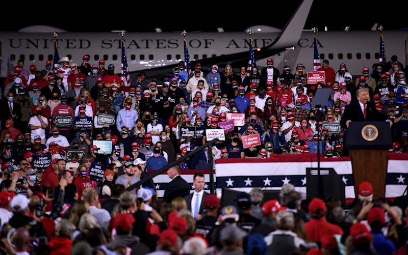 President Donald Trump speaks to a crowd during a Make America Great Again campaign rally - Getty Images North America