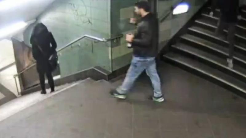 CCTV captures thug kick woman down subway station stairs