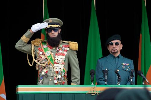 "In this film image released by Paramount Pictures, Sacha Baron Cohen, portrays Admiral General Aladeen, left, and Ben Kingsley portrays Tamir in a scene from ""The Dictator."" (AP Photo/Paramount Pictures, Melinda Sue Gordon)"