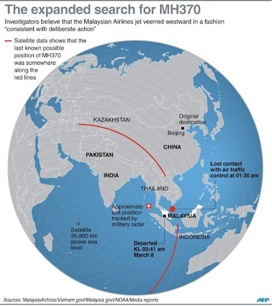 Graphic on the expanded search for the missing Malaysia Airlines Flight MH370