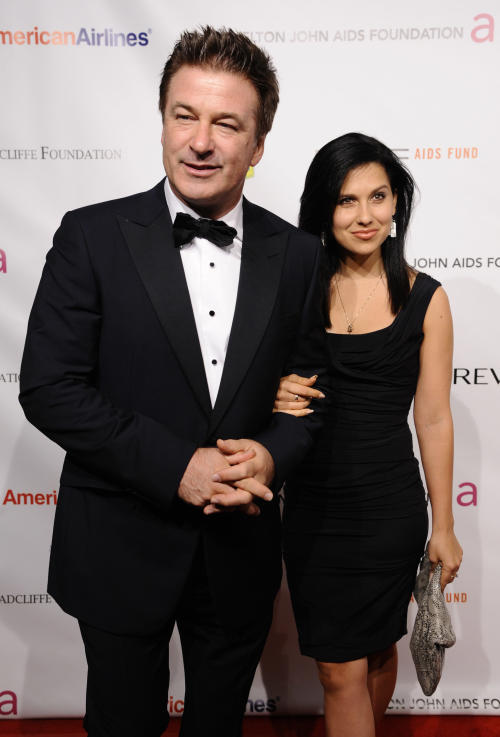 Actor Alec Baldwin and Hilaria Thomas attend the Elton John AIDS Foundation 10th Annual Enduring Vision Benefit, on Wednesday, Oct. 26, 2011, in New York. (AP Photo/Peter Kramer)