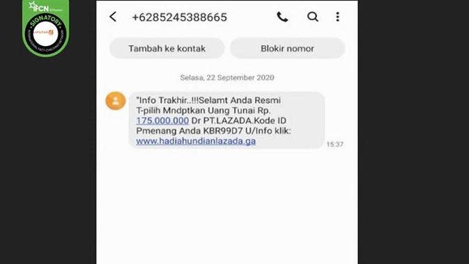 Gambar Tangkapan Layar SMS Penipuan Mencatut Lazada