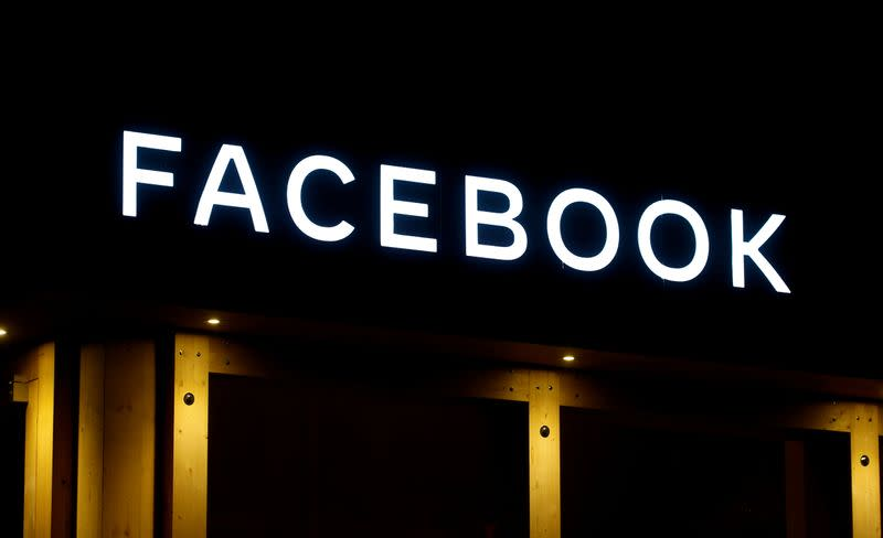 FILE PHOTO: FILE PHOTO: Logo of Facebook is seen in Davos