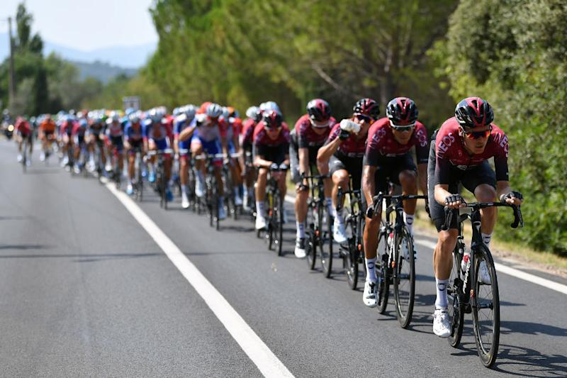 BEZIERS FRANCE AUGUST 01 Dylan Van Baarle of The Netherlands and Team Ineos Andrey Amador Bikkazakova of Costa Rica and Team Ineos Peloton during the 44th La Route dOccitanie La Depeche du Midi 2020 Stage 1 a 187km stage from Saint Affrique to Cazouls ls Bziers RouteOccitanie RDO2020 on August 01 2020 in Beziers France Photo by Justin SetterfieldGetty Images