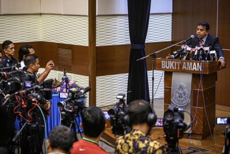 Principal assistant director of the Counter-Terrorism Division (E8) of the Special Branch Datuk Ayob Khan Mydin Pitchay addresses a press conference at Bukit Aman in Kuala Lumpur October 10, 2019. — Picture by Hari Anggara