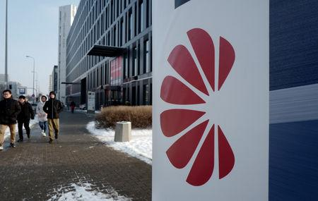 Logo of Huawei is seen on the advert in front of the local offices of Huawei in Warsaw, Poland January 11, 2019. REUTERS/Kacper Pempel