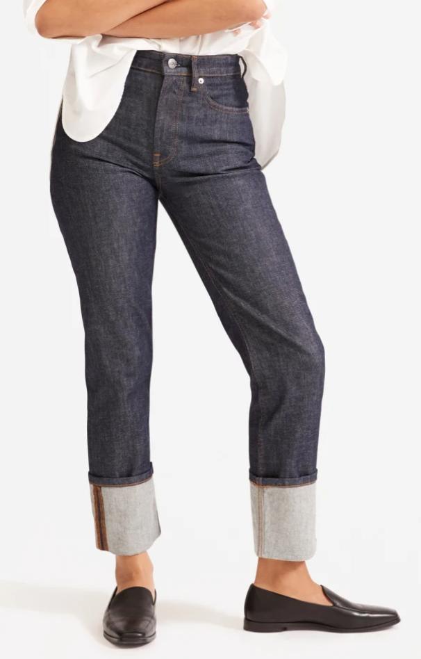 Everlane Super-Straight Jean in Cuffed Dark Indigo