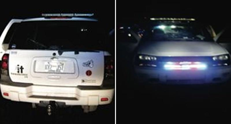 Erris's car which appears to have fake police lights installed. Source: Hillsborough County Sheriff's Office