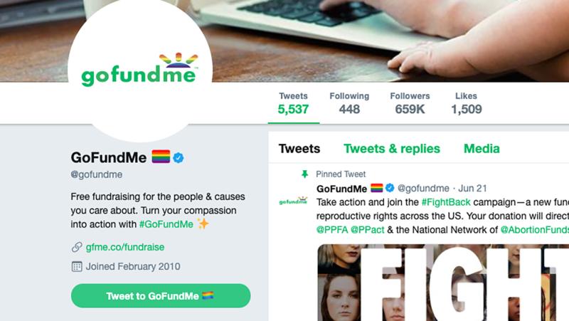 GoFundMe's Twitter page. Image: Twitter