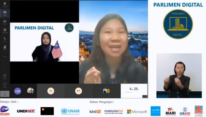 Marscella Ling (middle) speaking at Parlimen Digital. Photo: Parlimen Digital /Facebook