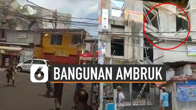 VIDEO: Diduga Tidak Sesuai Standar, Bangunan 3 Lantai Ambruk