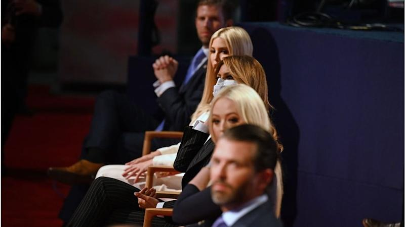 The Trump children removed their masks as they viewed the debate