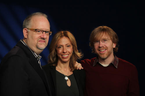 "CAPTION ADDITION TO TITLE FOR COMPOSER LYRICIST - In this Monday,March 11, 2013, photo, from left, playwright Doug Wright, composer-lyricist Amanda Green and Phish founder Trey Anastasio pose for a portrait in New York. The trio have teamed up to create the new Broadway musical ""Hands on a Hardbody."" (AP Photo/John Carucci)"
