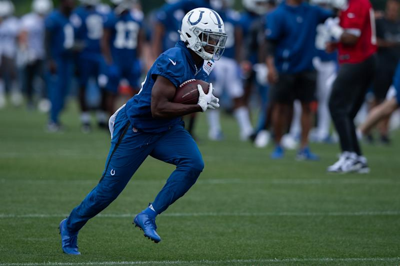 INDIANAPOLIS, IN - MAY 29: Indianapolis Colts running back Marlon Mack (25) runs through a drill during the Indianapolis Colts OTA on May 29, 2019 at the Indiana Farm Bureau Football Center in Indianapolis, IN. (Photo by Zach Bolinger/Icon Sportswire via Getty Images)