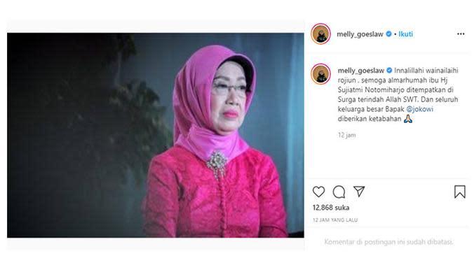 Ungkapan duka meninggalnya ibunda Presiden Jokowi dari para artis. (Sumber: Instagram/@melly_goeslaw)