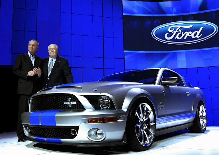 Carroll Shelby joins J Mays Ford's Group Vice President, design, at the 2007 New York International Auto Show to debut what was the most powerful Mustang ever - the 2008 Ford Shelby GT500KR.