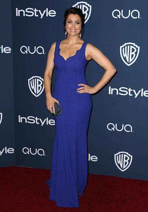"FILE - In this Jan. 12, 2014 file photo, Bellamy Young arrives at the 15th annual InStyle and Warner Bros. Golden Globes after a party at the Beverly Hilton Hotel in Beverly Hills, Calif. Young stars in the TV series ""Scandal,"" returning Thursday, Feb. 27, 2014, at 10 p.m. EST on ABC, with Mellie Grant picking up where she left off in a coil of heartbreak, ambition and behind-the-throne power. (Photo by Matt Sayles/Invision/AP, file)"