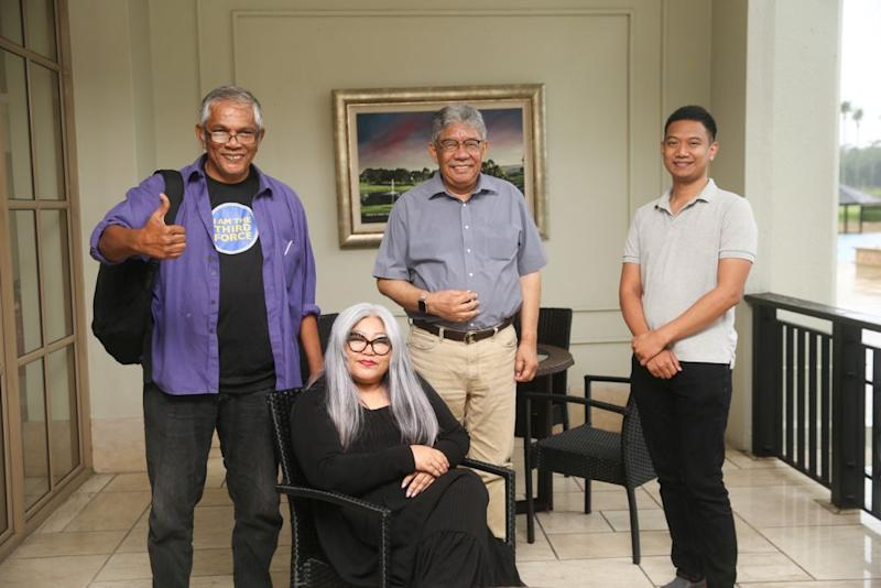 (From left) Haris Ibrahim, Siti Kasim, Tawfik Ismail and Amir Ahmad pose for a photo during an interview with Malay Mail September 5, 2020. — Picture by Choo Choy May