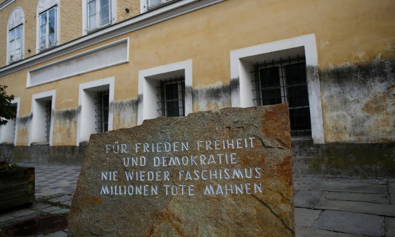 Inscribed stone outside house in which Adolf Hitler was born is pictured in Braunau am Inn