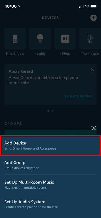 Amazon Alexa iPhone Add Device Menu