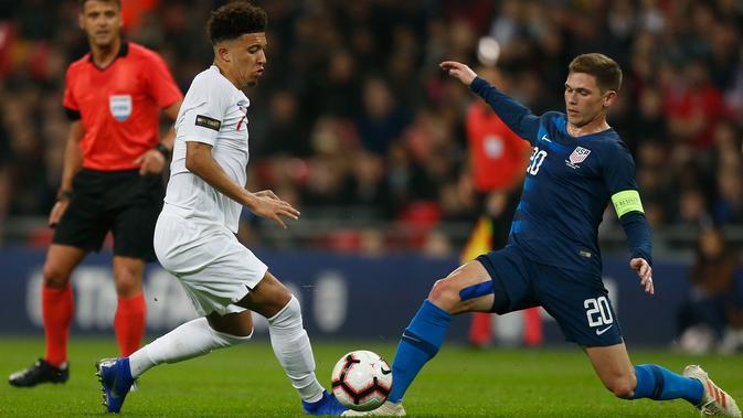Jadon Sancho menjadi pemain pertama kelahiran 2000 atau lebih, yang mencetak gol untuk Timnas Inggris Senior. (AFP/Ian Kington)