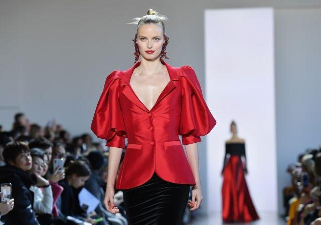 A nail-polish red blazer in the Badgley Mischka show. New York, February 8, 2020