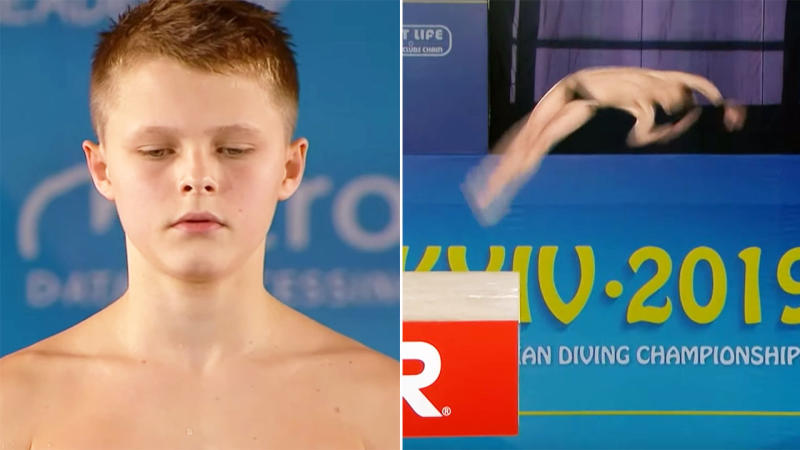 Oleksii Sereda, 13, won gold at the European Diving Championships. Image: MAT4