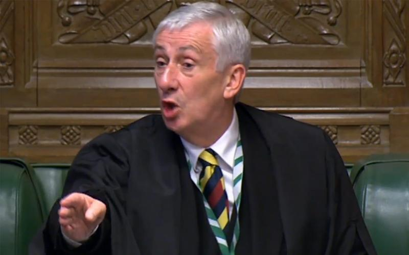 Sir Lindsay Hoyle was on hand to urge the MPs to keep moving - AFP