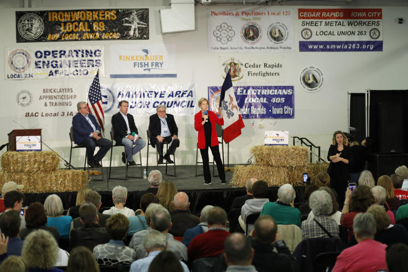 Democratic presidential candidate Sen. Elizabeth Warren speaks during a fund-raising fish fry for U.S. Rep. Abby Finkenauer, D-Iowa, Saturday, Nov. 2, 2019, at Hawkeye Downs Expo Center in Cedar Rapids, Iowa. (AP Photo/Charlie Neibergall)