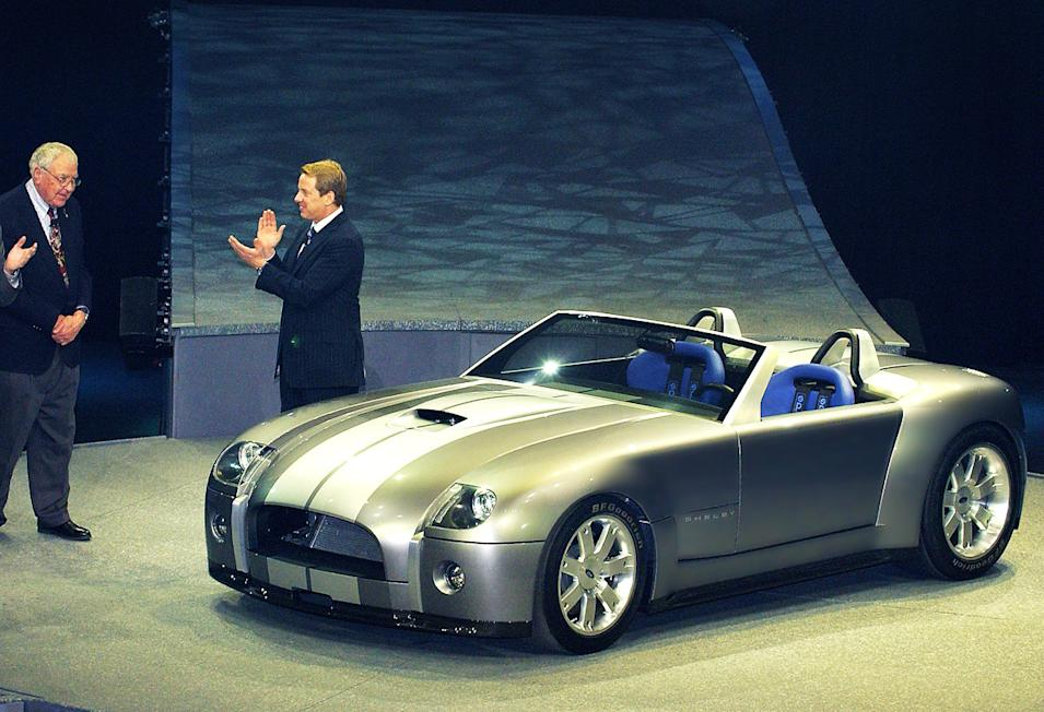 Ford Motor Company CEO William Clay Ford Jr. and Carroll Shelby following the introduction of the Ford Shelby Cobra Concept at the North American International Auto Show. (1/4/2004)