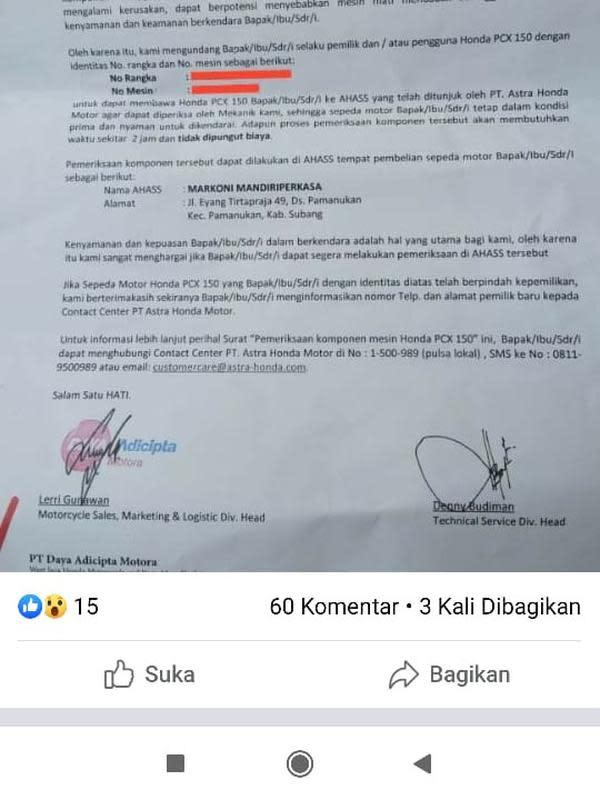 Surat undangan AHM untuk pemilik Honda PCX 150 (Facebook: All New Honda PCX Inndonesia)